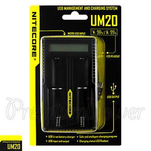 NITECORE UM20 Chargeur Smart USB Digi LCD LI-ION Imr Batterie 18650 18490 14500