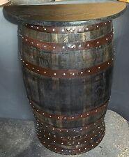 Recyclé rustique en chêne massif whisky demi tonneau bar poseur table