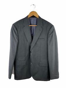Trenery Button Up Blazer Suit Jacket Men Sze 40 Grey Lined Sportscoat 100% Wool