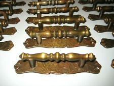 """Lot 26 Vtg RD 1971 CAN 176A-1 Patina Brass 3"""" C to C Drawer Handle Pull  Plate A"""