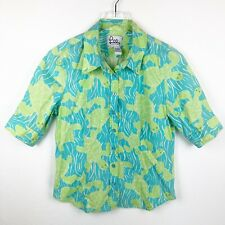 Lilly Pulitzer Womens Top Size 6 Shirt Blue Green Sea Turtle Print Stretch