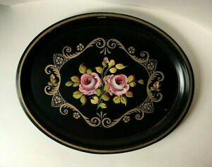 Large Vintage Toleware Hand Painted Tray with Gold Trim, Oval - Very Nice!