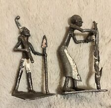 2 Vtg Primitive African Ivory Coast Folk Art Cast Metal Musician Figurines