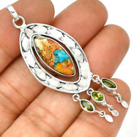 Spiny Oyster & Arizona Turquoise 925 Silver Pendant  Jewelry PP182530
