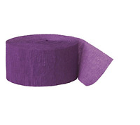Pack of 4 Crepe Paper Streamers Party Decorations Wedding Birthday Rolls -Purple