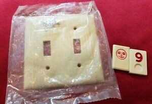 1 Ivory Vtg Ribbed Deco 2 Gang Double Switch Plate Lined Cover NOS - RJ9