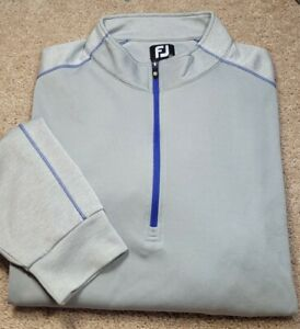 FOOTJOY-Lite Gray Perform.Poly, Mens LS, 1/3.ZIp Cool Weather Golf Pullover-(XL)