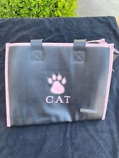 New listing Pink/Black Leather Cat Carrier Bag, Travel Chic Purse By Small Treasures