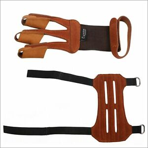 Archery 3 Finger Tab Glove + Arm Guard Leather Protector Gear Recure Bow Hunting