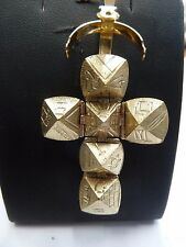 Vintage 9ct Gold & Silver Large Opening Masonic Ball Cross Pendant  9.3 g 1973