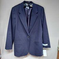 Sag Harbor Women's Pure New Wool Single-Button Suit Blazer Jacket Size 12 NWT