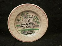 ANTIQUE STAFFORDSHIRE ABC CHILD'S PLATE FRANKLIN MAXIMS PROVERBS MEAKIN ROLLING
