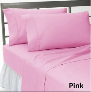 Fabulous Bedding Collection Pink Solid 1200TC Egyptian Cotton All UK Size