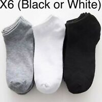 Black White 6 Pair Mens Trainer Socks Boot Ankle Footwear Cotton Liner Sport