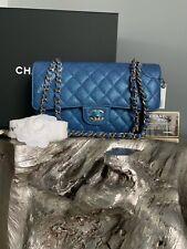 CHANEL 19S IRIDESCENT Dark Blue Medium Classic Flap Bag 2019 PEARLY CC MERMAID