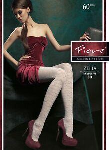 """FIORE """"Zelia"""" 3D-Feinstrumpfhose, 60 DEN, neu, Gr. S - L, smoky, neu, sexy & OVP"""