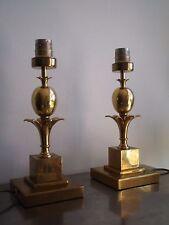PAIRE LAMPE ANANAS VINTAGE 1970 LUMINAIRE DECO DESIGN XX°s PINEAPPLE LAITON