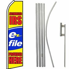 Authorized IRS E-File Provider Swooper Flag & 16ft Flagpole Kit/Ground Spike