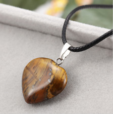 UK Beautiful Tigers Eye Crystal Gemstone Heart Pendant Black Cord Necklace.