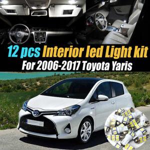 12Pc Super White Interior LED Light Bulb Kit Package for 2006-2017 Toyota Yaris
