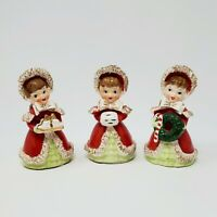 Vintage Lefton Christmas Angel Bell Trio 1956 Spaghetti Lace Wreath Gift Gold