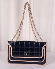 CHANEL Navy Blue+Beige CHOCOLATE BAR Patent Leather Quilted Flap Shoulder Bag