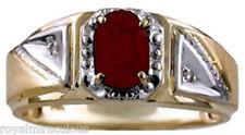Mens Red Ruby & Diamond Ring 14K Yellow Gold