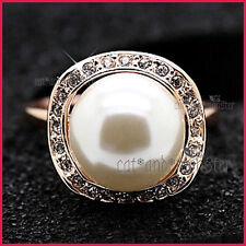 18K ROSE GOLD GF LADY GIRLS LARGE WHITE MOTHER PEARL COCKTAIL DRESS CRYSTAL RING