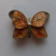 Vintage wrapped Wire thread String Art Butterfly Brooch + Pearl Orange Gold