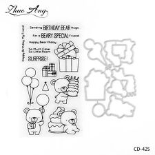 Birthday Bears Dies&Clear Stamps for DIY Scrapbooking Decor Card Making Supplies