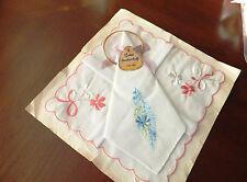 "2 Vintage lot embroidered delicate silk handkerchiefs new 8"" + 2 bracelets"