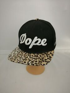 DOPE Baseball Hat Black Leopard Adjustable Teal Heavy Embroidered Los Angeles
