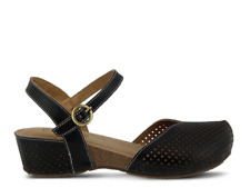 SPRING STEP $100 Black LADA Perforated Leather Sandals 41 9.5-10 aka Lizzie