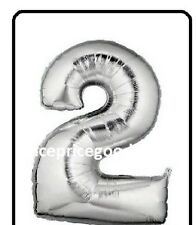 JUMBO 40 INCH SILVER FOIL NUMBER 2 HELIUM BALLOON PARTY BIRTHDAY BALLOONS EVENTS