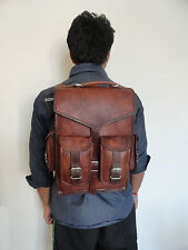 "Vintage Leather Backpack 13"" MacBook Bag Convertible Messenger Shoulder Bag"