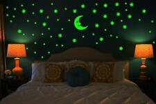 Stars and Moon Glowing in the dark Wall Stickers Decals - 8 Hours Glow in Night