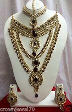 Bollywood Kundan Maroon Full Wedding Indian Bridal Gold Plated Jewelry Set