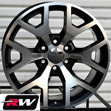 "20"" inch Wheels for Chevy Silverado 5656 5658 Black Machined 20x9"" Rims 6x139.7"