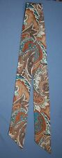 Cravat Neck Tie Womens Double Sided Accessory Retro Brown Paisley Turquoise