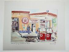 Old Trail Garage Santa Fe NM Texaco Gas Oil Signed Kiran Levy 8x10 Vtg Copy Art