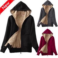 Women's Winter Warm Fleece Lined Zip Up Hooded Sweatshirt Jacket Coat Outwear US