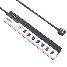 Individual Switches Power Strip 900 Joules Surge Protector 8 Outlets USB 6.6fts