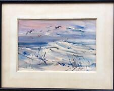 Tableau peinture Cadre 20ème XXème Lafond Aquarelle Ocean Dunes Oiseaux Moderne