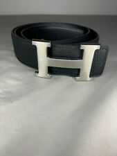 HERMES CONSTANCE H Silver Buckle Black Leather Belt Size 100