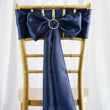 10 Navy Blue Satin Chair Sashes Ties Bows Wedding Party Reception Decorations