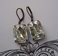 Vintage Art Deco Earrings Clear Crystal Bridal Jewelry - Bridesmaid Great Gatsby