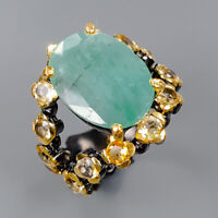 Emerald Ring Silver 925 Sterling Handmade Jewelry ring Size 7 /R148330