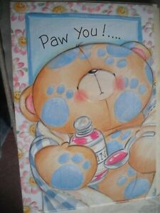 PAW YOU Sending Lots of Love & Hugs (Bear) Get Well Forever Friends Card