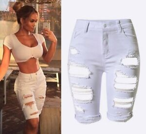 Euro Summer Fashionable Hole Fitted Short Pants - White
