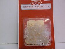 New ! 25 PK Holiday Time Clear MINI LIGHT CLIPS With Adhesive Mount